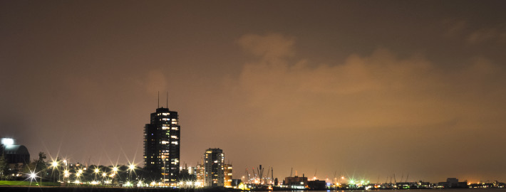 Rotterdam night view to Maas river