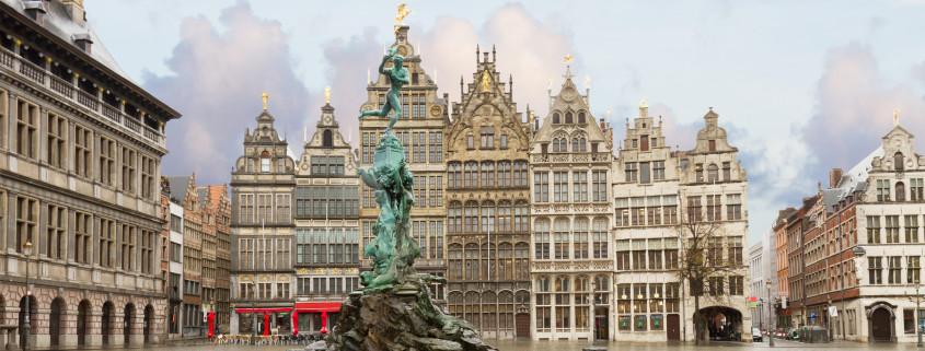 view of Grote Markt square in old town, Antwerpen, Belgium